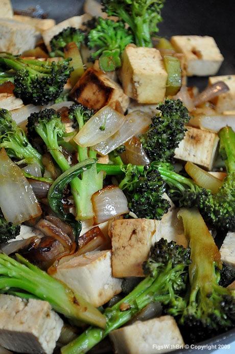 Sautéed purple broccoli with onions, garlic & firm tofu