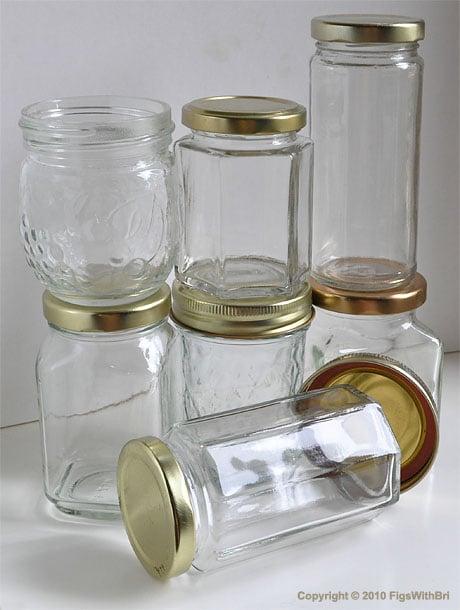 Recycled jam jars for homemade meyer lemon marmalade