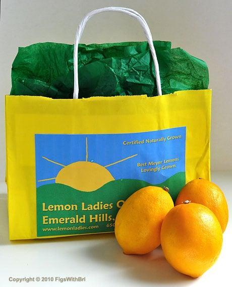 Gift bag of Meyer Lemons from Lemon Ladies Orchard