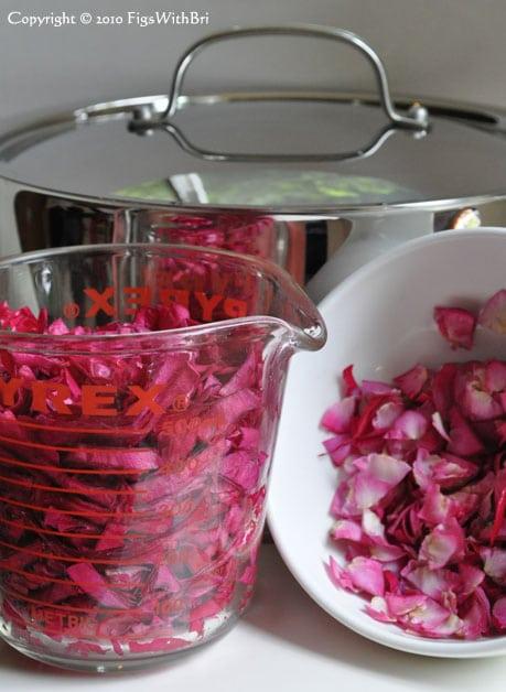 Rose petals, trimmed & cut before making rose petal jam
