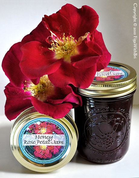 Honey rose petal jam in jars with fresh roses