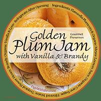 golden plum-apricot jam label
