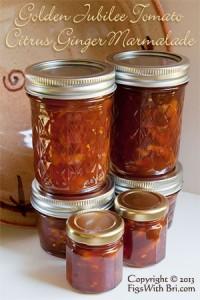 tomato citrus ginger preserves in jars