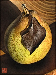fruit art print seckel pear in wooden bowl