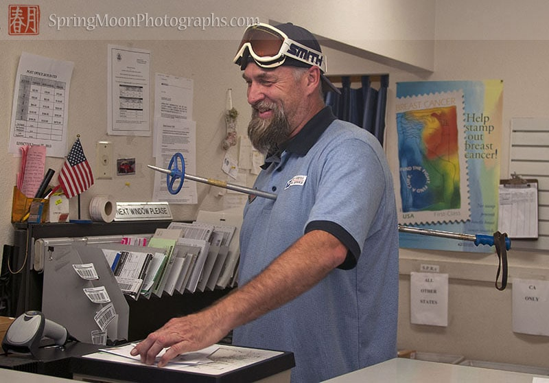 post office employee in a humorous halloween ski costume